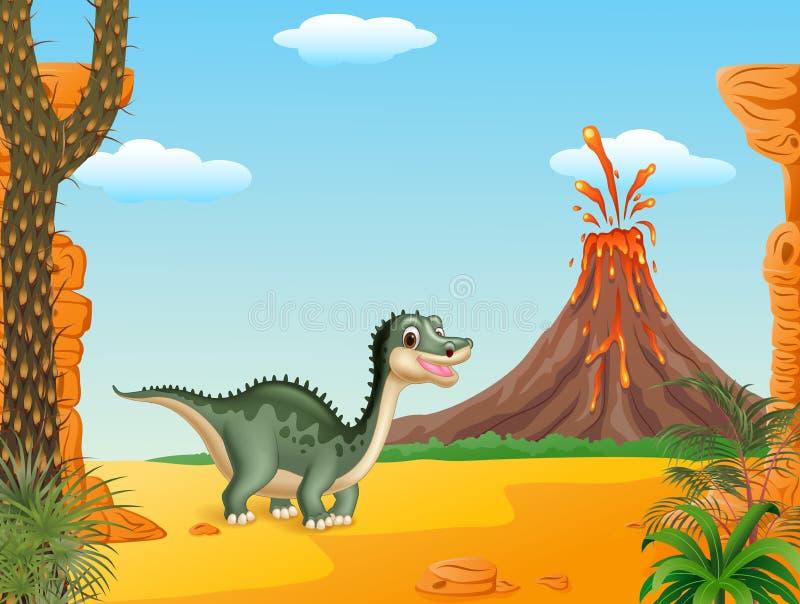 Cartoon funny dinosaur with volcano background stock illustration