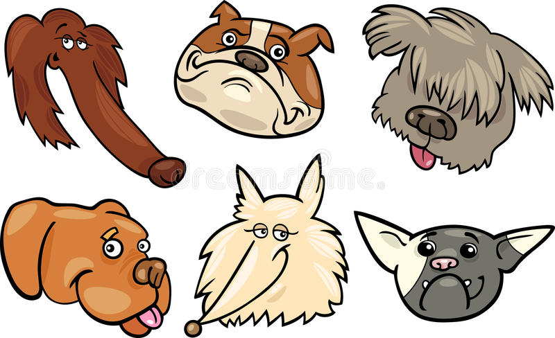 Download Cartoon Funny Dogs Heads Set Royalty Free Stock Photography - Image: 27923527