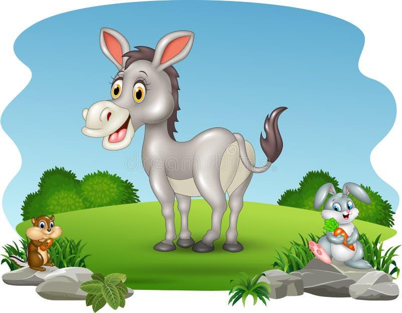 Cartoon funny donkey with nature background stock illustration