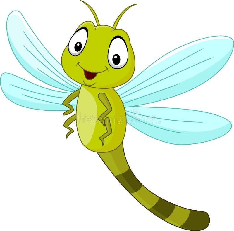 Cartoon funny dragonfly vector illustration