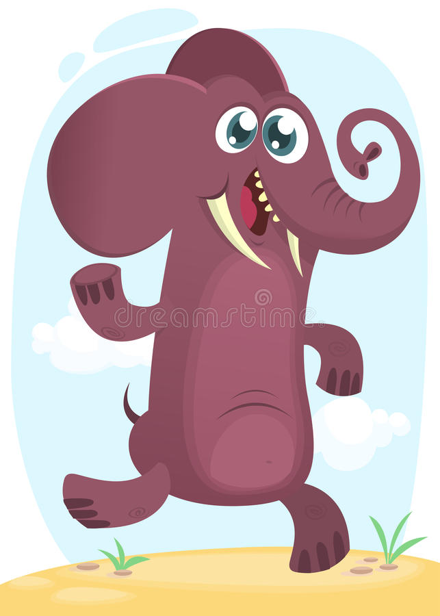 Cartoon funny elephant dancing excited. Vector illustration or icon isolated royalty free illustration