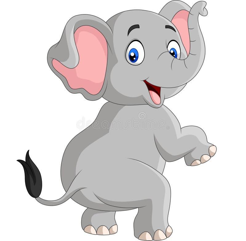 Cartoon funny elephant isolated on white background. Illustration of Cartoon funny elephant isolated on white background stock illustration