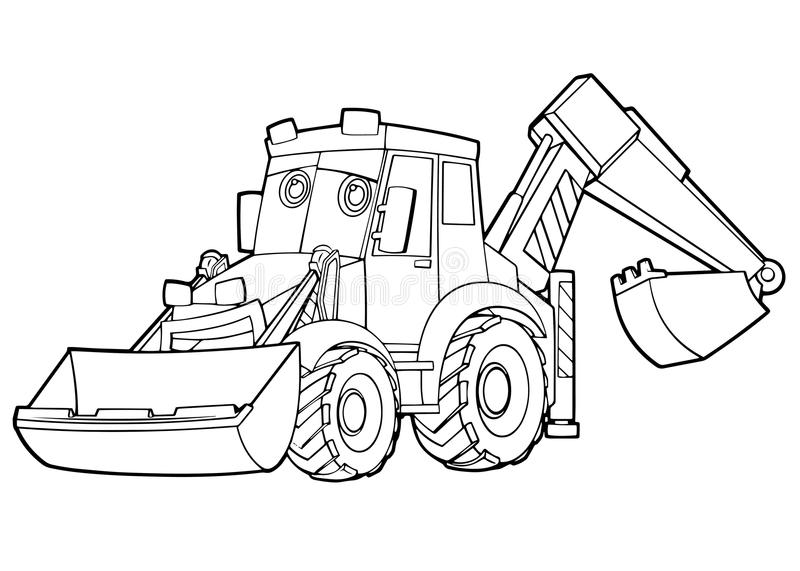 Cartoon funny excavator - isolated coloring page royalty free illustration
