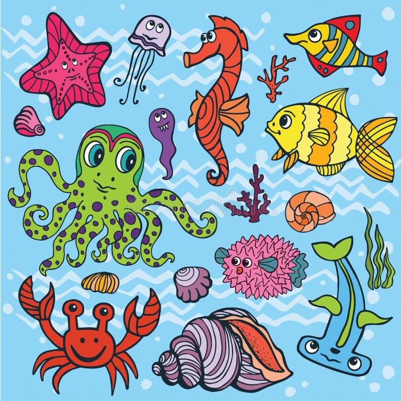 Cartoon funny fish sea life set colored doodle stock for Disegno pesce palla