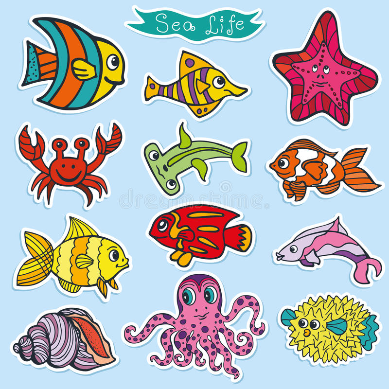 Cartoon Funny Fish, Sea Life Stickers.Colorful Stock ...