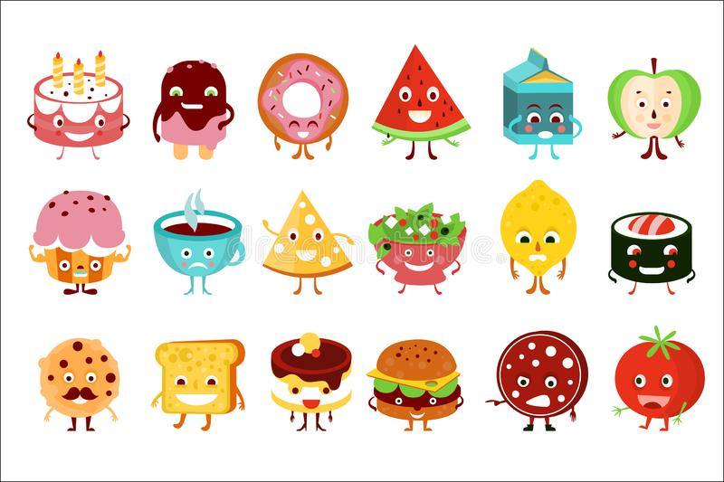 Cartoon funny food characters set, cake, watermelon, ice cream, donut, apple, cupcake, pizza, sushi roll, toast, tomato stock illustration