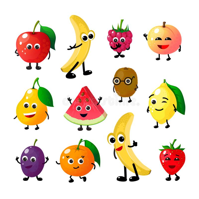 Cartoon funny fruits. Happy apple banana raspberry peach pear watermelon lemon strawberry faces. Fruit berry vector vector illustration