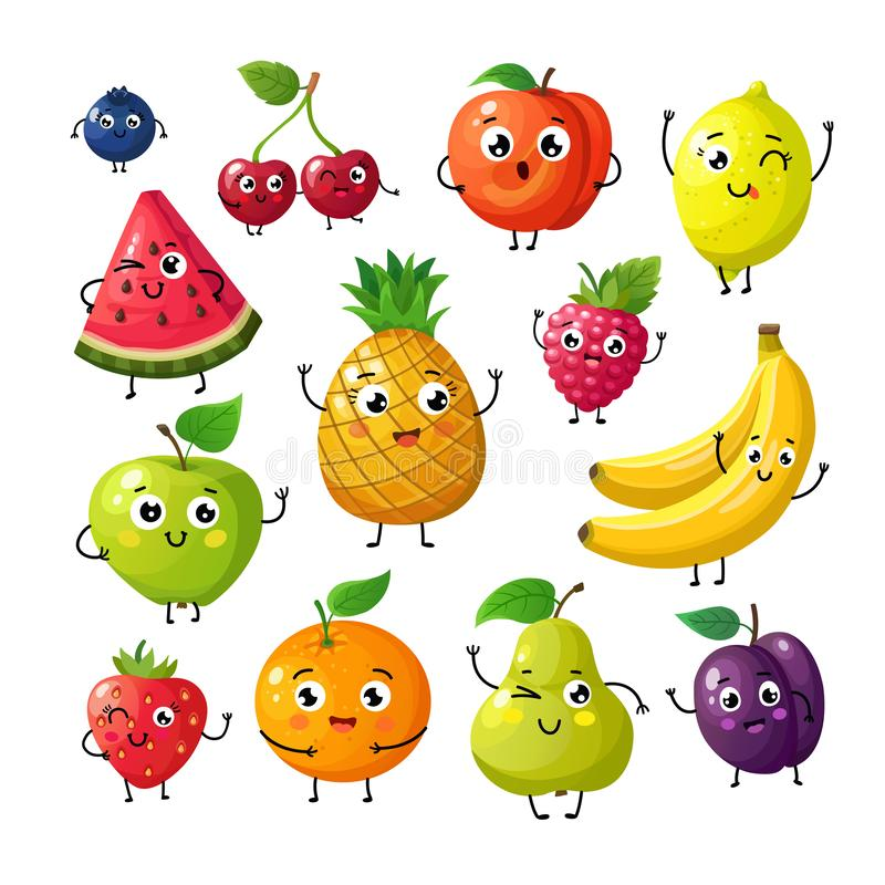 Cartoon funny fruits. Happy kiwi banana raspberry orange cherry with face. Summer fruit and berry vector characters royalty free illustration