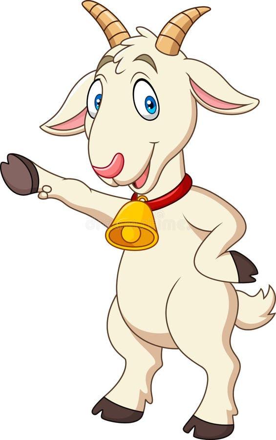 Cartoon funny goat presenting royalty free illustration