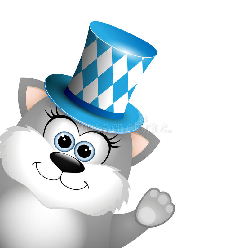 Cartoon funny gray cat in a bavarian hat. Card for Oktoberfest. stock illustration