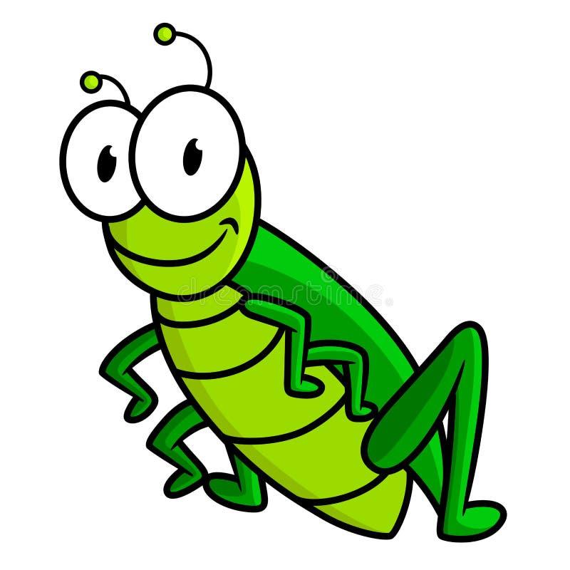 Cartoon funny green grasshopper character royalty free illustration
