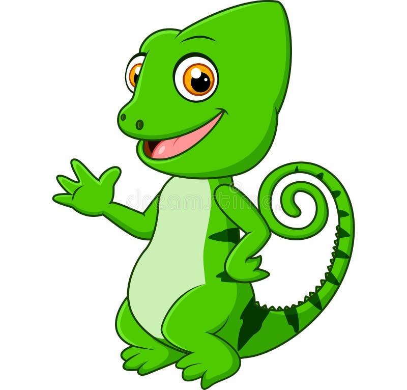 Cartoon funny green lizard posing. Illustration of Cartoon funny green lizard posing royalty free illustration