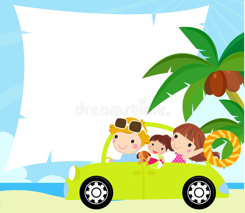 Download Cartoon Funny Happy Family Goes On Holiday By Car Stock Vector - Image: 21186494