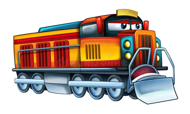 Cartoon funny and happy looking electric train - isolated on white background vector illustration