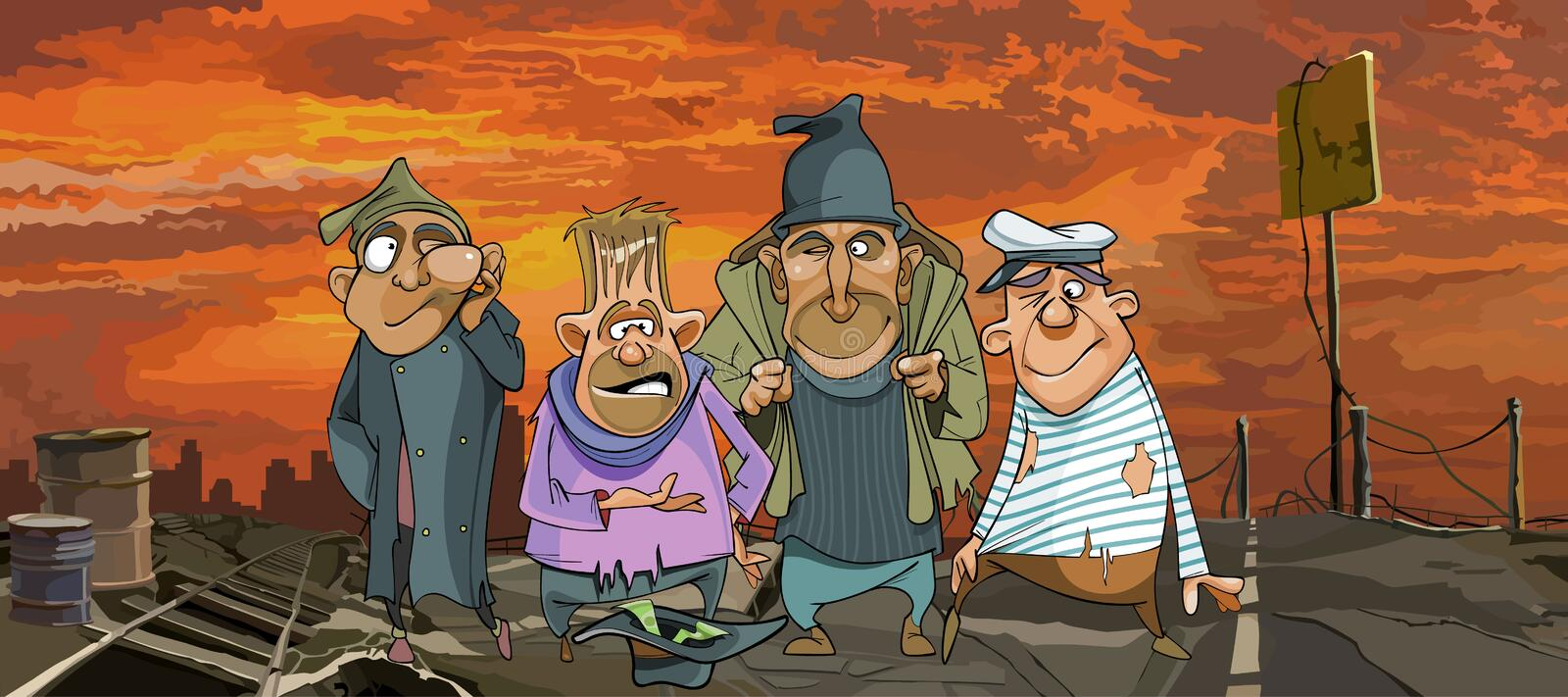 Cartoon funny homeless men in ragged clothes in ruins. City royalty free illustration