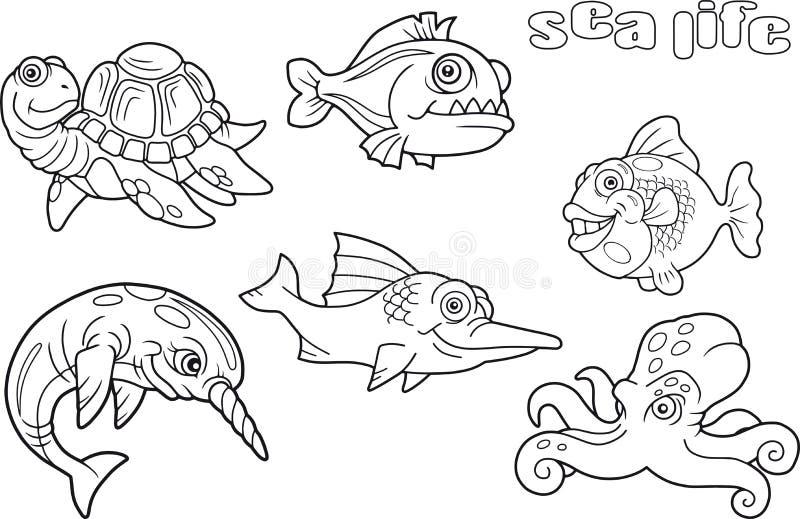Cartoon funny images sea life. Set of cartoon funny images sea life stock illustration