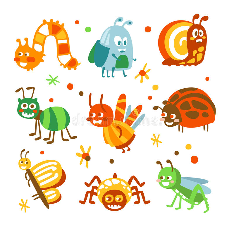 Cartoon funny insects and bugs set. Colorful collection of cute insect Illustrations stock illustration