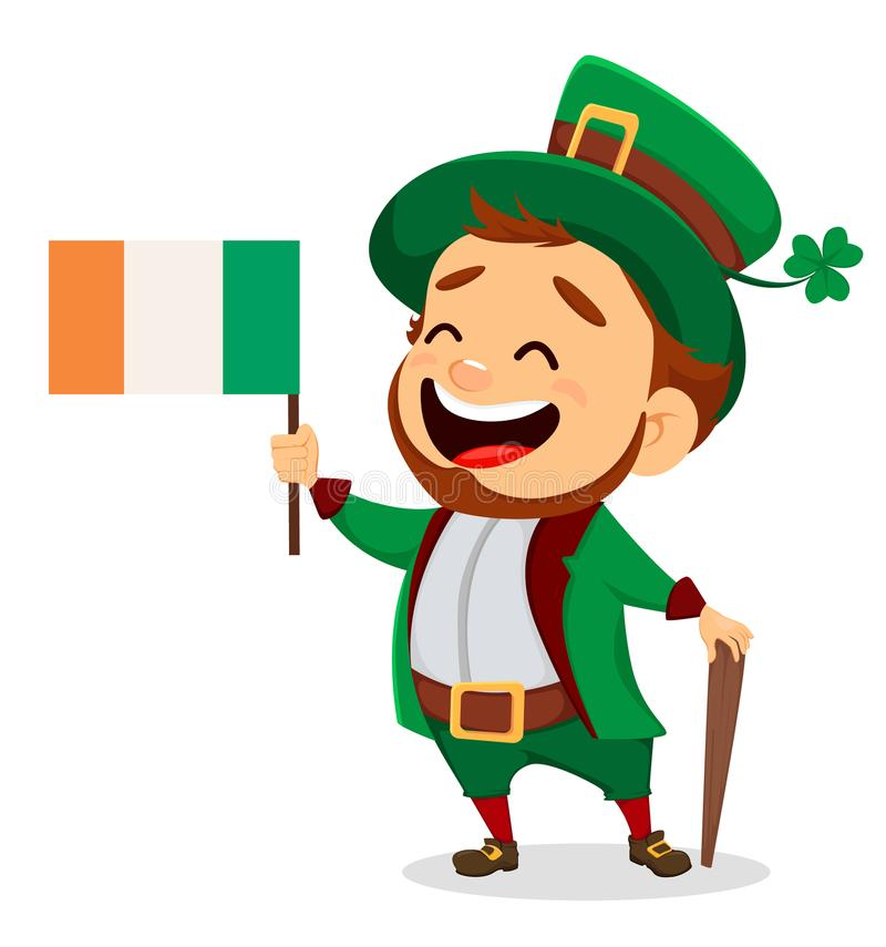 Cartoon funny leprechaun with Irish flag and cane. Happy Saint Patrick`s Day. Character with green hat. Cartoon funny leprechaun with Irish flag and cane. Vector royalty free illustration