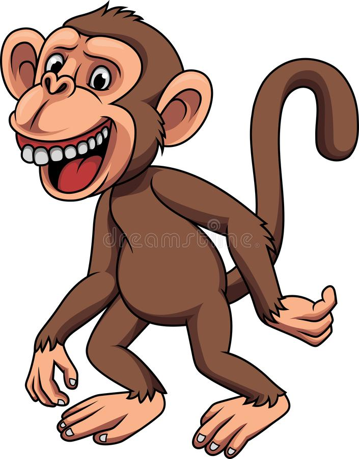 Cartoon funny little monkey royalty free illustration