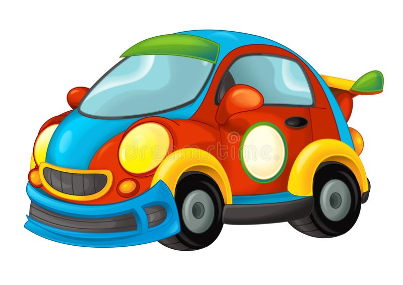 Cartoon funny looking sports car on white background vector illustration
