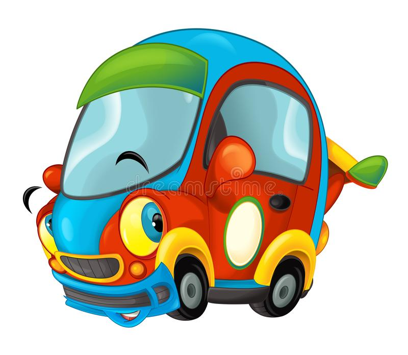 Cartoon Funny Looking Sports Car On White Background Stock