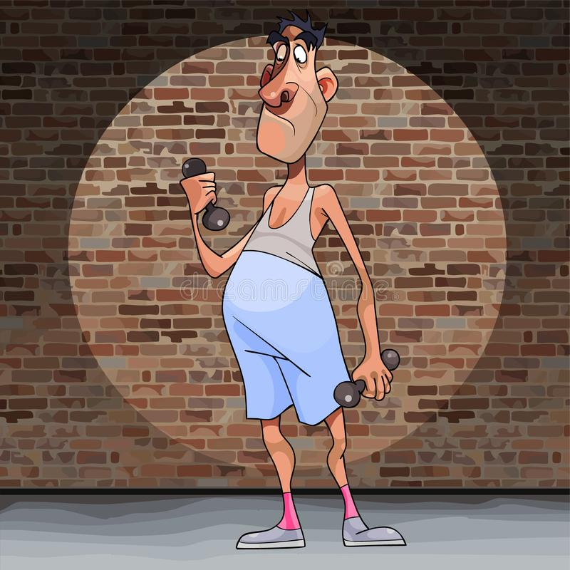 Cartoon funny man not an athlete deals with dumbbells. On a brick wall background vector illustration