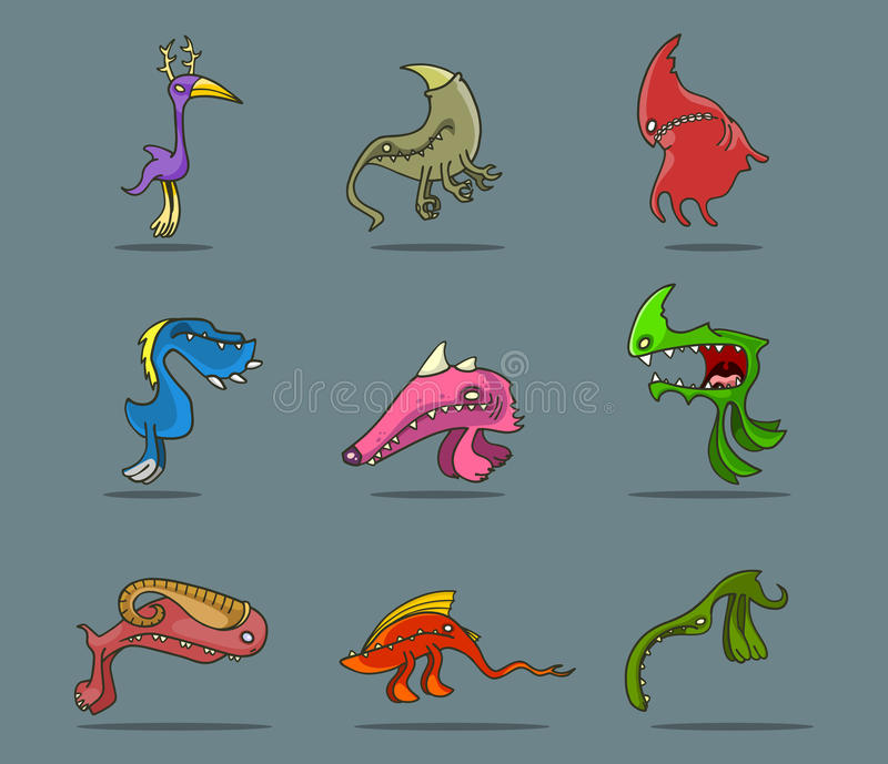 Cartoon funny monsters set royalty free illustration