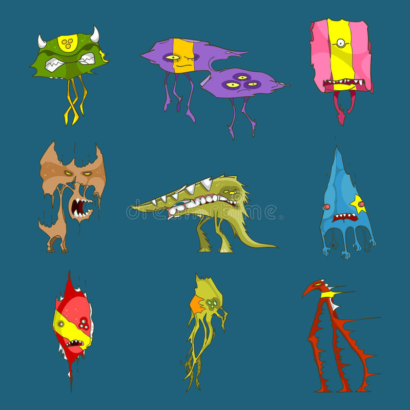 Cartoon funny monsters set vector illustration