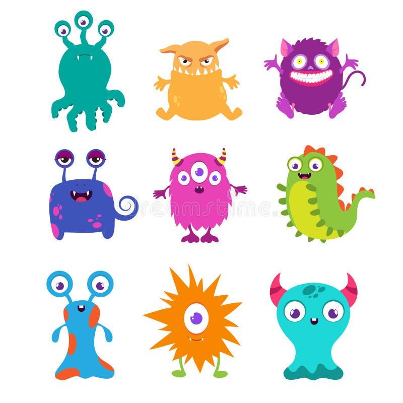 Cartoon funny monsters vector set for t-shirt design vector illustration