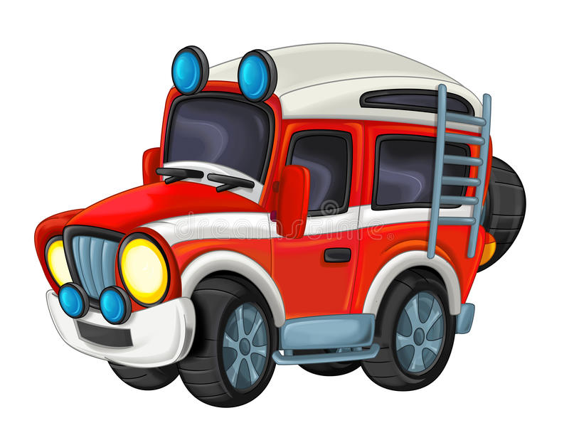 Cartoon funny off road fire fighter truck isolated. Beautiful colorful illustration caricature for the children for different usage stock illustration
