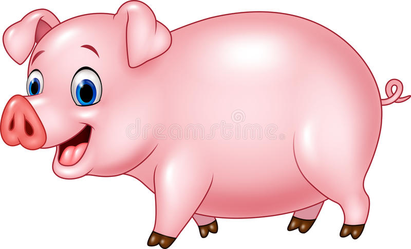 Cartoon funny pig isolated on white background. Illustration of Cartoon funny pig isolated on white background stock illustration