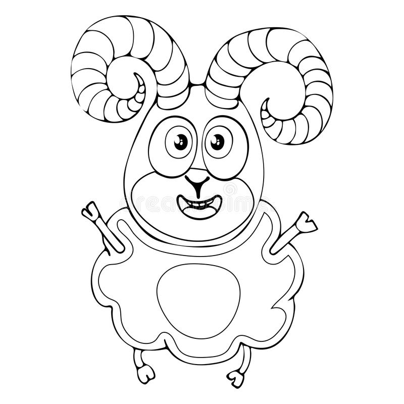 Cartoon funny ram for coloring book isolated on white background, vector black and white hand drawing, monochrome vector illustration