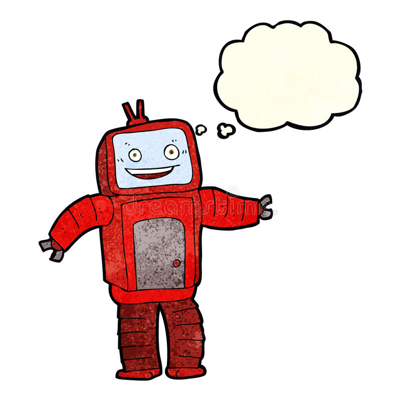 Cartoon funny robot with thought bubble royalty free illustration