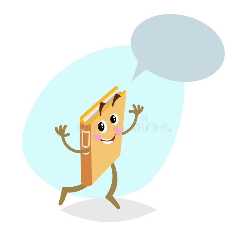 Cartoon funny running orange book mascot on round background. Dummy speech bubble. Wide smile character. royalty free illustration