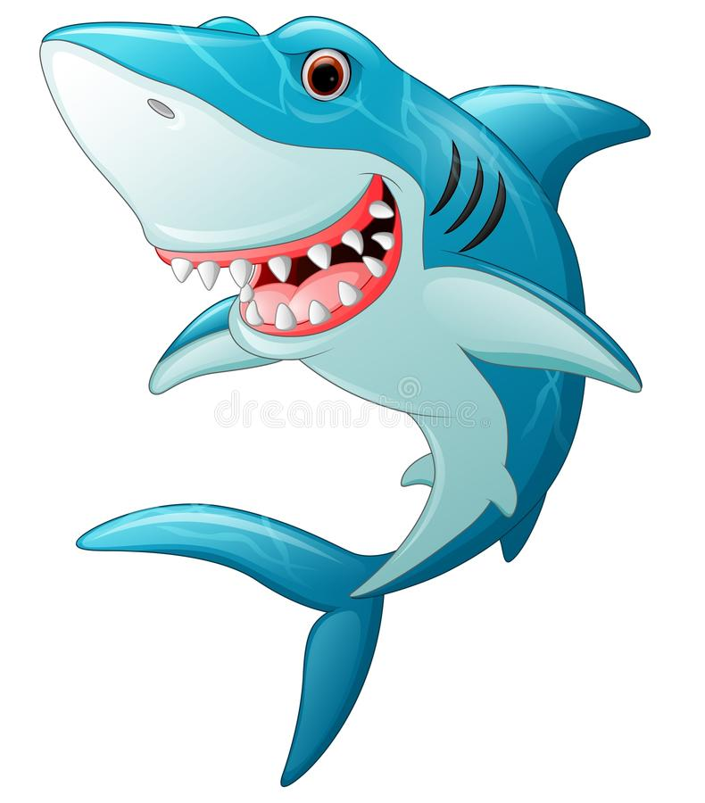 Cartoon funny shark stock illustration
