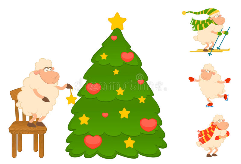 Download Cartoon Funny Sheep Dresses Up A Fir-tree Stock Photo - Image: 16201300