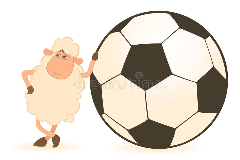 Cartoon funny sheep play in football royalty free illustration
