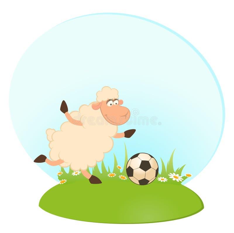 Cartoon funny sheep play in football stock illustration