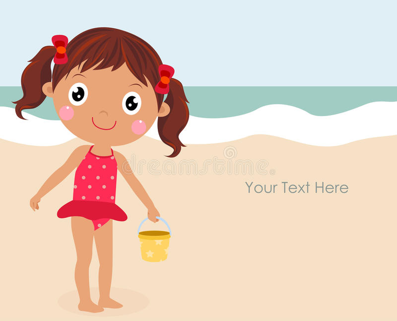 Cartoon funny summer little girl dressed swimsuit vector illustration