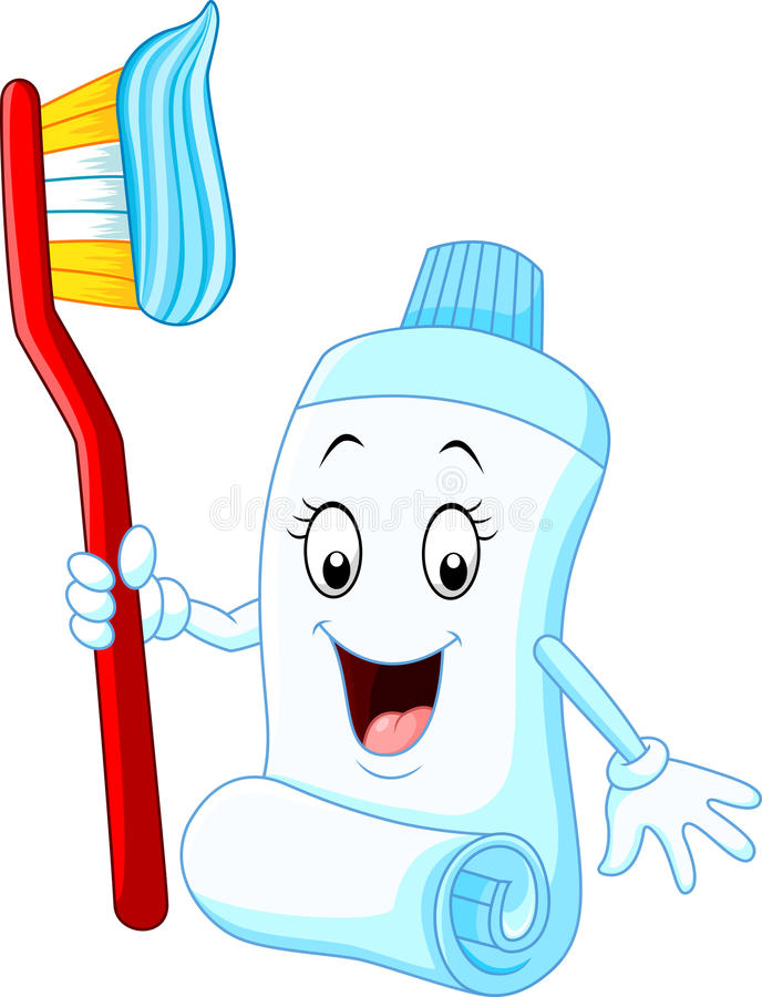 Cartoon funny toothpaste and toothbrush vector illustration