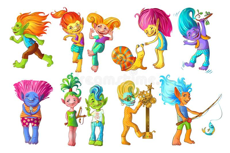 Cartoon Funny Troll Characters Set. With different colors of skin and in various situations isolated vector illustration stock illustration