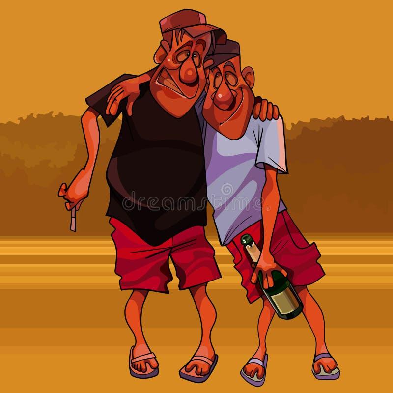 Cartoon funny two men are walking drunk stock illustration
