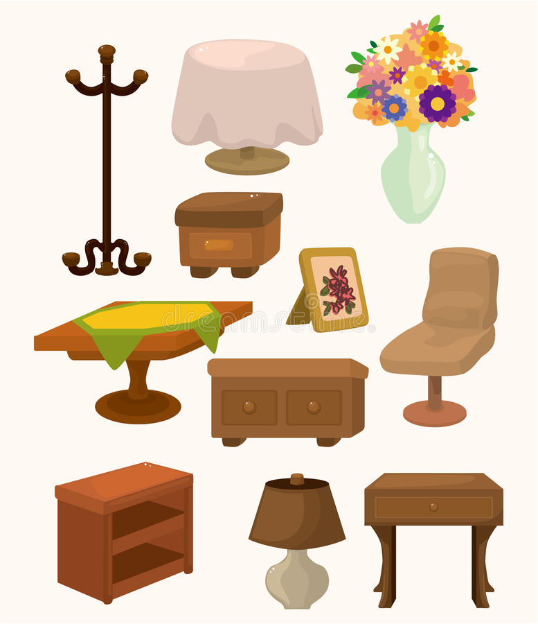 Cartoon Furniture: Cartoon Furniture Icons Stock Vector. Illustration Of Home