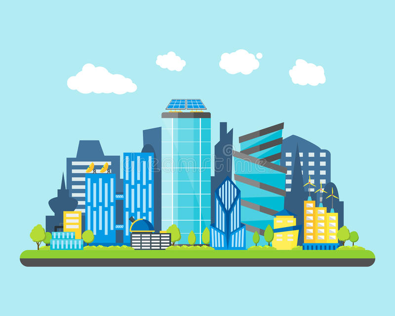 Cartoon Future City on a Landscape Background. Vector vector illustration