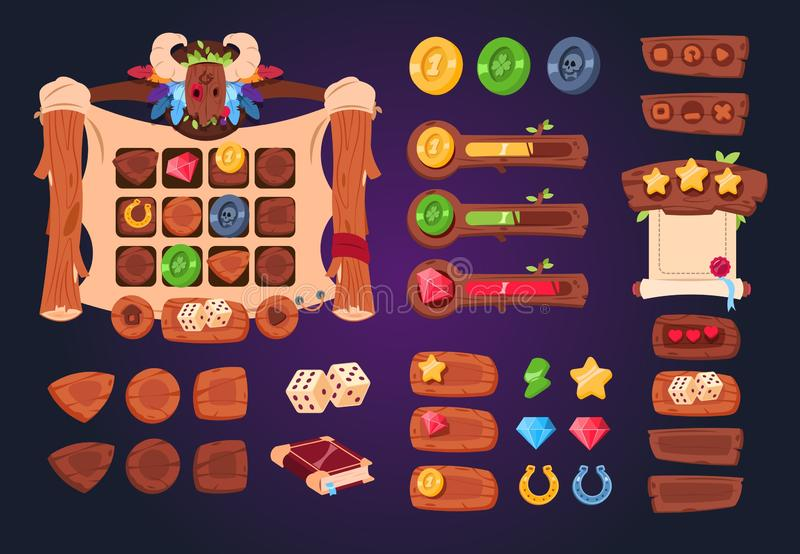 Cartoon game ui. Wooden buttons, sliders and icons. Interface for 2d games, app gui vector design royalty free illustration