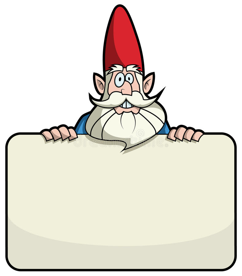 Cartoon garden gnome standing behind a blank sign stock illustration