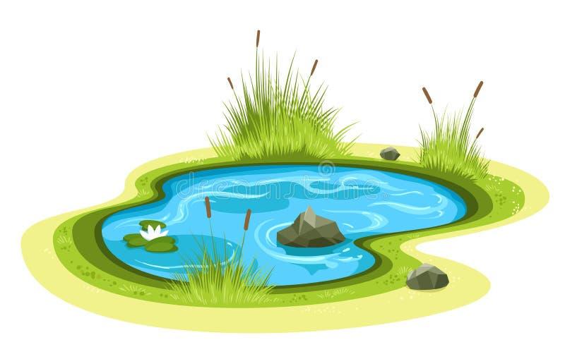 Cartoon garden pond royalty free illustration