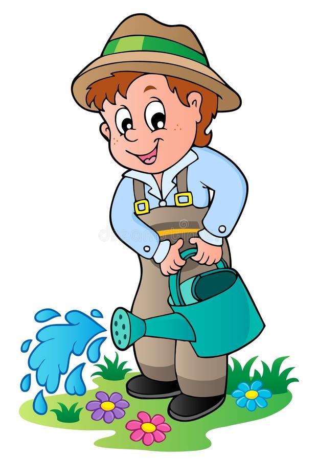 Cartoon gardener with watering can stock illustration