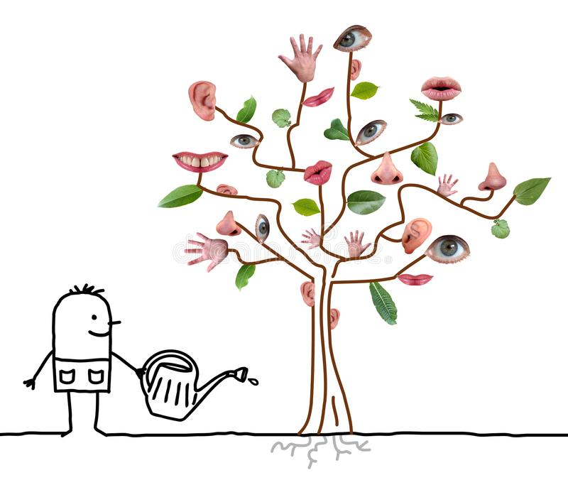 Cartoon Gardener Watering Five Senses Tree stock illustration