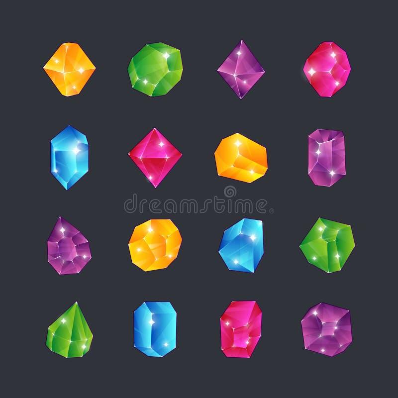 Cartoon gems. Gem stones jewels diamonds topaz stone emerald ruby sapphire glance clear glass brilliant isolated ui stock illustration